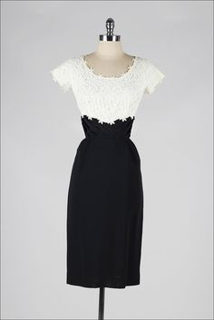 ~vintage 1950s black rayon & white macrame lace cocktail dress~ I had a dress something like this.