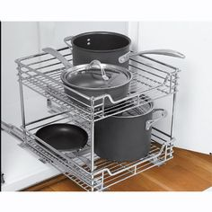 Deluxe Heavy Duty Sliding Organizer - 2 Tier This would be perfect in my kitchen for not only pots & pans but for my plastic & pyrex organization I would need like 4 of these to be totally organized '-) Pan Organization, Kitchen Cabinet Organization, Kitchen Storage, Cabinet Organizers, Organizing Ideas, Cabinet Storage, Kitchen Cabinet Pulls, Kitchen Pantry, Kitchen Cabinets