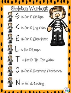 Halloween Instant Activity Warm Up for PE, Brain Breaks and Party Days, Physical Education Activities, Pe Activities, Movement Activities, Comprehension Activities, Music Education, Health Education, Special Education, Yoga For Kids, Exercise For Kids