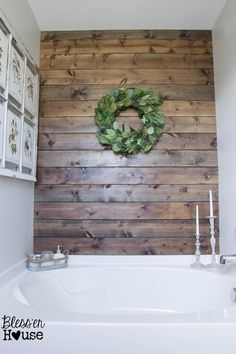 amazing things for the house Farmhouse Bathroom Decor Ideas Rustic - Wood Bathroom Accent Wall - har Rustic Bathroom Decor, Rustic Bathrooms, Wood Bathroom, Bathroom Styling, Bathroom Interior, Bathroom Shelves, Family Bathroom, Modern Bathroom, Bathroom Vanities