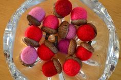 Acorns Needle Felted Red Pink Magenta by TwiceNicePurses on Etsy