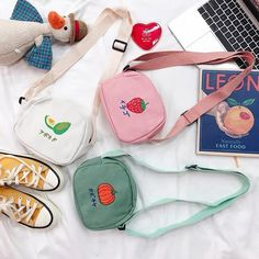 Kawaii Fruits Bag Source by soleilsunsole aesthetic My Bags, Purses And Bags, Aesthetic Bags, Kawaii Fruit, Cute Crossbody Bags, Kawaii Bags, Accesorios Casual, Cute Backpacks, Black White Pink