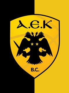 AEK logo in basketball. Thessaloniki, Ferrari Logo, Mobile Wallpaper, Basketball, Logos, Wallpapers, Goku, Greece, Party Ideas