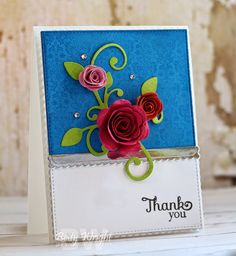 Card with flourish and flowers - Thank You! Rolled Scalloped Roses MFT cards