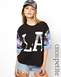ASOS PETITE T-Shirt with Floral Sleeves and Fringing