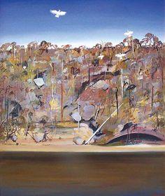 Arthur Boyd - Bird Poacher and Cockatoo. Part of the Shoalhaven City Art Collection. Art Painting, Landscape Paintings, Arthur Boyd, Australian Art, Painting, Australian Painting, City Art, Landscape Art, Australian Painters