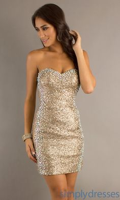 Dress, Short Strapless Sequin Dress with Sheer Sides - Simply Dresses