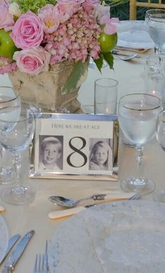Photos Of Bride And Groom At Diffe Ages As Table Numbers