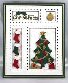 Festive Collection Christmas Shadow Box-Festive Collection - Christmas Shadow Box This die includes the faux pierced shadowbox frame and all of the little accessory dies to include in the shadow box frame. The card sample illustrates and example of h Christmas Box Frames, Christmas Shadow Boxes, Christmas Tree Cards, Xmas Cards, Holiday Cards, Christmas Wishes, Handmade Christmas, Christmas Diy, Christmas Ornaments
