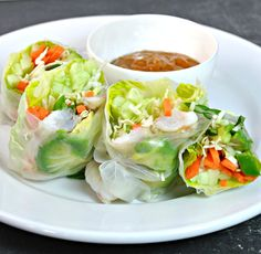 WE ♥ THIS!  ----------------------------- Original Pin Caption: Fresh Spring Rolls with Prawns and Peanut Dipping Sauce