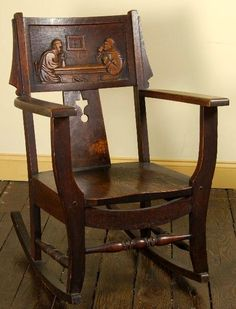 Shop of the Crafters, attribution, rocker with carved monks