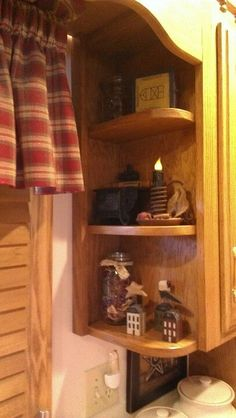 I have the same 3 shelves on the sides but it cluttered with plants. Time to change things up as I love the primitive theme. #PrimitiveKitchen
