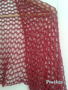 Punto Malla a dos agujas | PuntAzu Lace Knitting, Knitting Stitches, Knitting Patterns Free, Free Pattern, Knitted Shawls, Crochet Shawl, Knit Crochet, Prayer Shawl, Knit Fashion