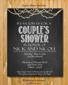 Printable Couples Shower invitation, custom Party invitation, custom chalkboard invite on Etsy, $14.99