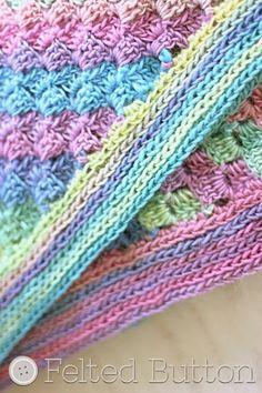 Botón de fieltro - Crochet Patterns Colorful: Primavera en verano con un Patrón Manta GRATIS Crochet