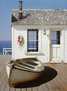 """Boat on Dock"" shabby chic cottage beach seaside bungalow Cottages By The Sea, Beach Cottages, Tiny Cottages, Beach Houses, Coastal Homes, Coastal Living, Tiny Living, Modern Living, Living Rooms"