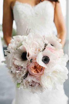 July Wedding Flower Bouquet Bridal Flowers Arrangements Bride White Anemone Peach Peonies Pink Roses