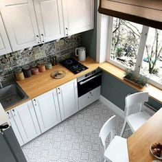 44 Best Small Kitchen Design Ideas for Your Tiny Space Small Apartment Kitchen, Kitchen Dinning Room, Kitchen Sets, Home Decor Kitchen, Kitchen Living, Kitchen Furniture, Kitchen Interior, Home Kitchens, Kitchen Small
