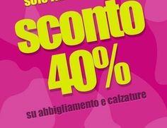 Da GIOLEN Ritorna a grandissima richiesta solo domani SCONTO 40% SU TUTTO!!! Affrettati