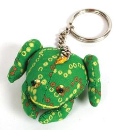 £4.00 Stuffed cotton frog keyring with a cute face, handmade in India.  #Fairtrade #Cotton #Keyrings #Frogs