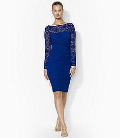 Lauren Ralph Lauren Sequined Floral Lace Sheath Dress #Dillards