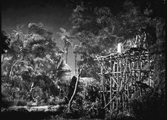 KING KONG (1933) Skull Island set up involving miniature, glass painted and rear projected elements as one.
