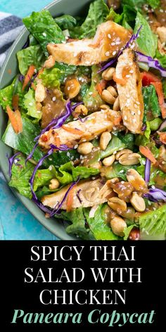 salad recipes Spicy Thai Salad with Chicken is a Panera favorite you can make at home now! This delicious Thai Chili Vinaigrette peanut sauce is the star of this salad and it will become your new favorite dressing! Best Salad Recipes, Chicken Salad Recipes, Asian Recipes, Beef Recipes, Healthy Recipes, Delicious Salad Recipes, Grilled Chicken Salad, Shrimp Salad, Side Dishes