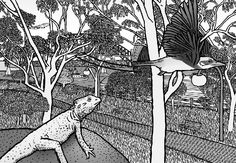 Cartoon Sydney Botanical Gardens scene. Natural and build environment in the same frame.  Image from Stuart McMillen's comic Thin Air.