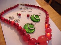 Shades of Red/Green Necklace, Lots of Earringsin good condition as shown