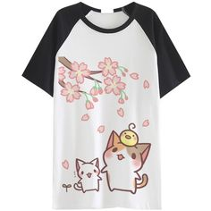 Amazon.com: AnimeTown Japanese Cat Game Nekoatsume Neko atsume Short... ($13) ❤ liked on Polyvore featuring tops, t-shirts, short sleeve tee, white short sleeve top, cat print t shirt, short sleeve tops and short sleeve t shirts