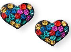ShopStyle: Macy'sUnwritten Sterling Silver Earrings, Multicolor Crystal Heart Stud Earrings