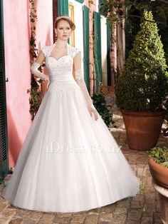 junoesque queen anne neckline cap sleeve a-line wedding dress