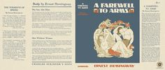 A Farewell to Arms by Ernest Hemingway Charles Scribner's Sons, first printing. Ernest Hemingway Books, A Farewell To Arms, The Sun Also Rises, Mini Books, Book Covers, Magazines, Sons, Barbie, Printing