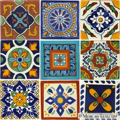 Mexican Tile - Mixed Talavera Tile Set - x6033
