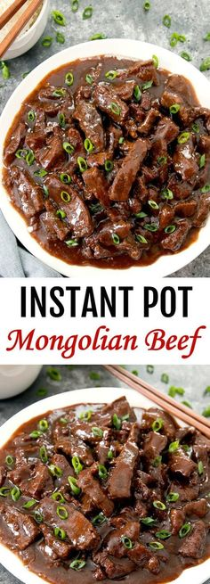 Instant Pot Mongolian Beef ~ Everything cooks in one pot for easy clean-up. Homemade Mongolian beef tastes better and is healthier than take-out. ** CLICK PIN TO LEARN MORE! Slow Cooker Recipes, Crockpot Recipes, Cooking Recipes, Healthy Recipes, One Pot Recipes, Quick Beef Recipes, Cooking Bacon, Cooking Oil, Crockpot Round Steak Recipes
