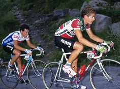 Stephen Roche & Andy Hampsten. Mid-1980s.  Love Andy...got his autograph in Aspen during Coors classic!!