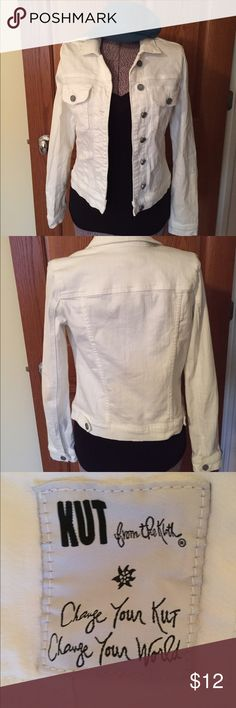 White denim jacket Super cute white jacket from kut from the kloth. Buttons up and has front pockets. Perfect transition into September. Like new. Kut Jackets & Coats Jean Jackets