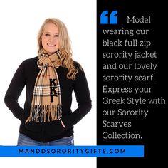 StylishKappa Kappa GammaSorority Clothing. Model wearing our black full zip sororityKappa Kappa Gammajacket and our lovely plaid sorority scarf. Gift Boxes Available. #kkg #kappakappagamma
