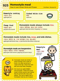Easy to Learn Korean 925 - Homestyle meal. Chad Meyer and Moon-Jung Kim EasytoLearnKorean.com An Illustrated Guide to Korean
