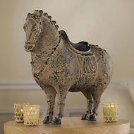Chinese Emperor Plump Horse Golden Age Asian Faux Terra Cotta Equestrian Statue
