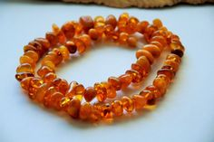 Genuine Baltic amber necklace flat round amber Egg by AmberGiftLT