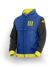 Hot Game Role Cosplay Vault 111 Hoodie Blue Zip Up Hooded Jacket Coat Costume