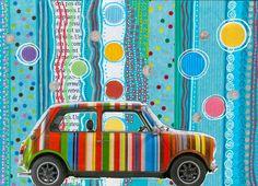 Mini Cooper By Paul Smith.  Collage Claire Cordier