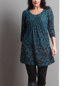Love this Emerald Floral Empire-Waist Three-Quarter Sleeve Tunic - Plus by Reborn Collection on #zulily! #zulilyfinds