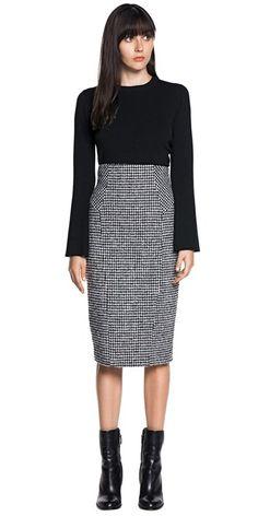 Skirts   Check Wool Blend Skirt
