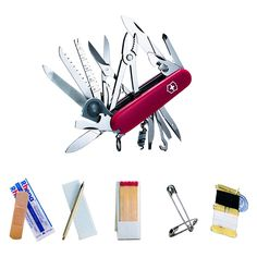 Pocket Multi Tools 75236: Swiss Army Knife, Red Swisschamp With Sos Kit, Victorinox 53511, New In Box -> BUY IT NOW ONLY: $144.99 on eBay!