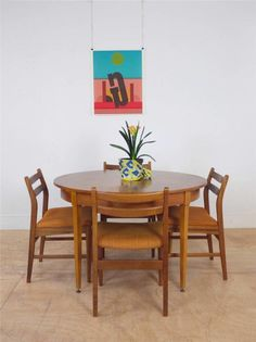 60's Retro Extending Dining Table with Brass Feet & Set of Four Chairs