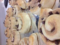 Crescant rolls with peanut butter and chocolate chips. Yum!