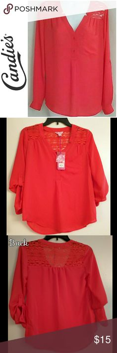 NWT Button Down Orange-Red Blouse Half packet shirred yoke in Poppy Red (bright orange-red). Super cute lace on upper shirt. Great color all year long.   Never worn. NWT Candie's Tops Blouses