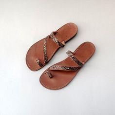 DIAPLO - Handmade Ancient Greek Leather Sandals / Gladiator / Spartan / Women Flat Shoes / Summer Flip Flop